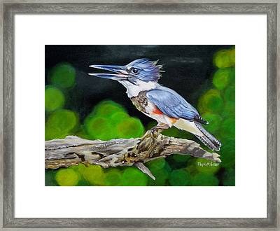 Lady Kingfishers Song Framed Print by Phyllis Beiser