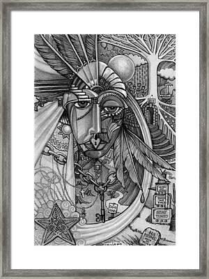 Lady Liberty - Bw Framed Print by Caroline Czelatko