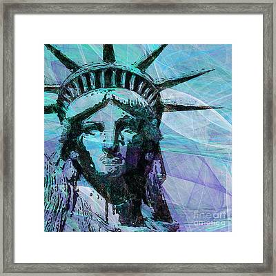 Lady Liberty Head 20150928 Square P150 Framed Print by Wingsdomain Art and Photography