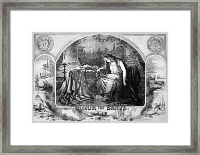 Lady Liberty Mourns During The Civil War Framed Print by War Is Hell Store
