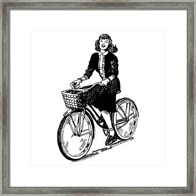 Lady On A Bike Framed Print by Karl Addison