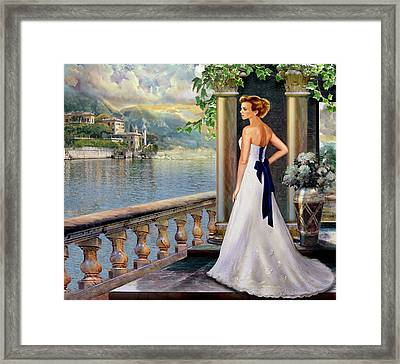 Lady On The Stairs By Lake Como.  Framed Print by Regina Femrite