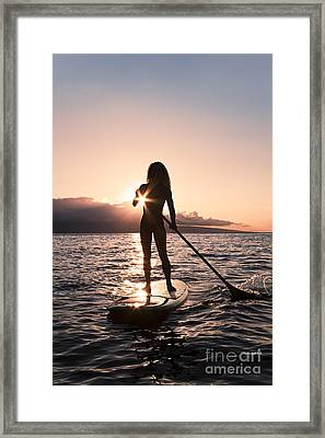 Lady Paddling Framed Print by Dave Fleetham - Printscapes