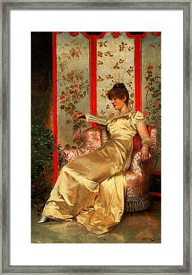 Lady Reading Framed Print by Joseph Frederick Charles Soulacroix