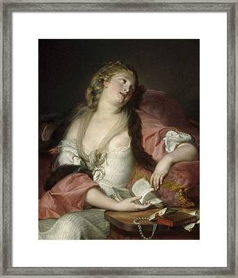 Lady Reading The Letters Of Heloise And Abelard Framed Print by Bernard dAgescy