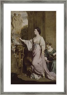 Lady Sarah Bunbury Sacrificing To The Graces Framed Print by Joshua Reynolds