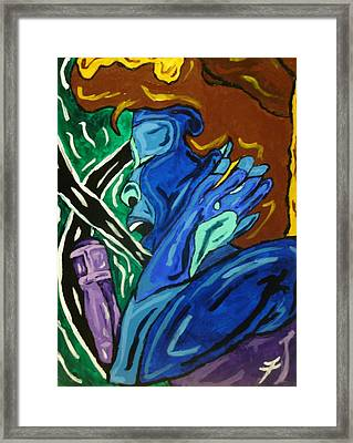 Lady Sing The Blues Framed Print by Jason JaFleu Fleurant