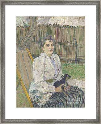 Lady With A Dog Framed Print by Henri de Toulouse