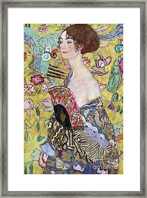 Lady With A Fan Framed Print by Gustav Klimt