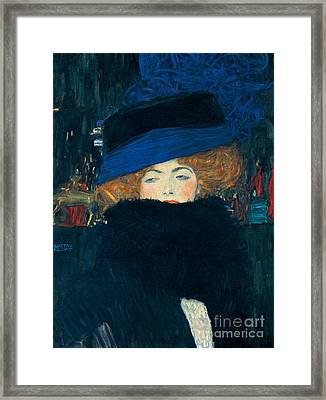 Lady With A Hat And A Feather Boa Framed Print by Gustav Klimt