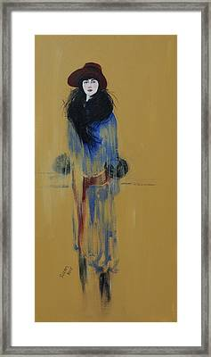 Lady With Red Hat And Black Fur Framed Print by Susan Adams