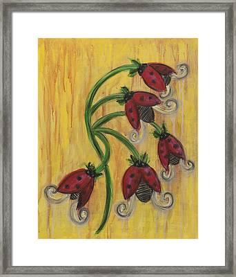 Ladybug Flowers Framed Print by Kristen Fagan
