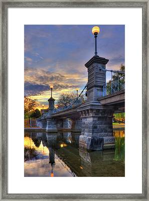 Lagoon Bridge - Boston Public Garden Framed Print by Joann Vitali
