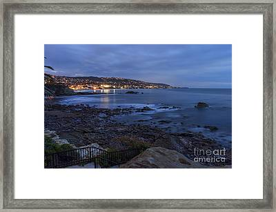 Laguna Beach At Twilight Framed Print by Eddie Yerkish