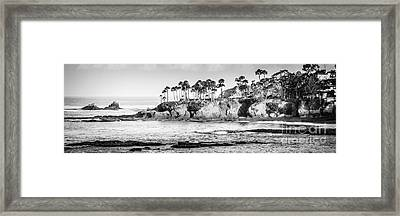 Laguna Beach Black And White Panoramic Picture Framed Print by Paul Velgos