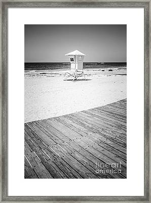 Laguna Beach Lifeguard Tower Black And White Picture Framed Print by Paul Velgos