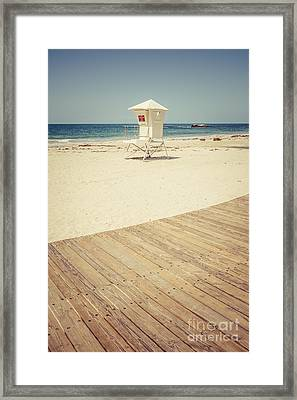 Laguna Beach Lifeguard Tower Retro Picture Framed Print by Paul Velgos