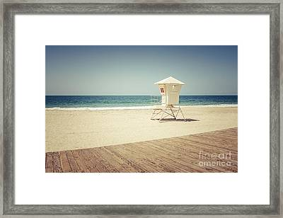 Laguna Beach Lifeguard Tower Vintage Picture Framed Print by Paul Velgos