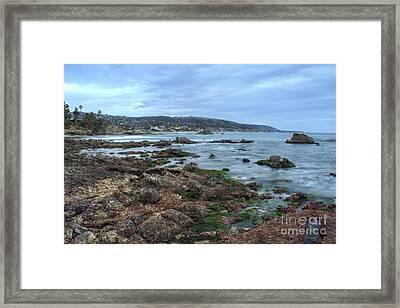 Laguna Beach Shoreline At Low Tide Framed Print by Eddie Yerkish