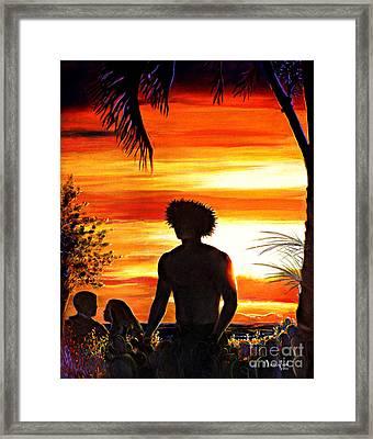 Lahaina At Dusk Framed Print by Nanybel Salazar