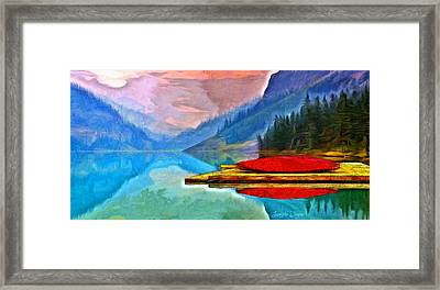 Lake And Mountains - Pa Framed Print by Leonardo Digenio