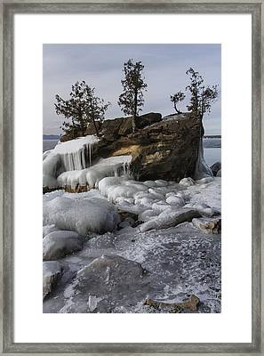 Lake Champlain-boulder-trees-ice-winter-vermont Framed Print by Andy Gimino
