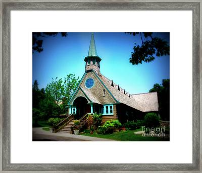 Lake Church Framed Print by Perry Webster