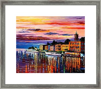 Lake Como - Bellagio  Framed Print by Leonid Afremov