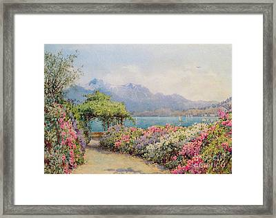 Lake Como From The Villa Carlotta Framed Print by Ernest Arthur Rowe