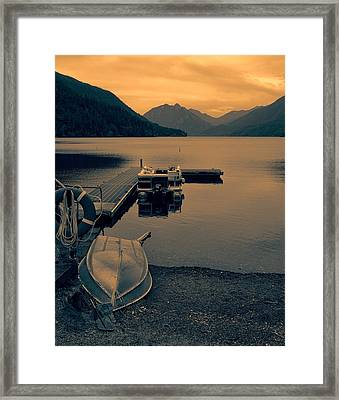Lake Crescent Boats At Sunset Framed Print by Dan Sproul