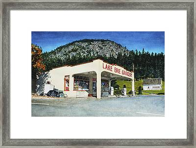 Lake Erie Grocery Framed Print by Perry Woodfin