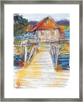 Lake House Framed Print by Russell Pierce