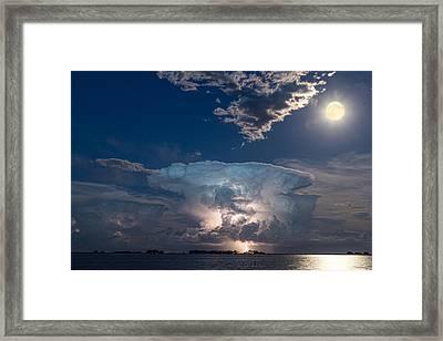 Lake Lightning Striking Thunderstorm Cell And Full Moon Framed Print by James BO  Insogna