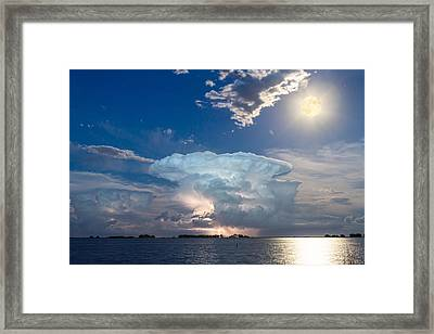 Lake Lightning Thunderstorm Cell And Moon Framed Print by James BO  Insogna