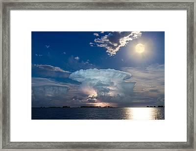 Lake Lightning Thunderstorm Striking And Full Moon   Framed Print by James BO  Insogna