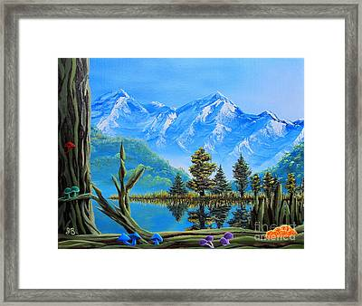 Lake Matheson Mushrooms Framed Print by Joshua Bales