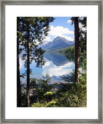 Lake Mcdlonald Through The Trees Glacier National Park Framed Print by Marty Koch