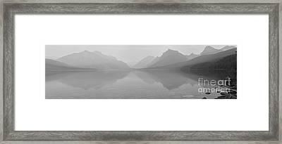 Lake Mcdonald Black And White Panorama Framed Print by Adam Jewell