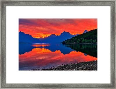 Lake Mcdonald Fiery Sunrise Framed Print by Greg Norrell