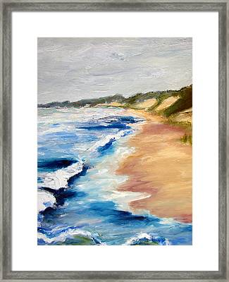 Lake Michigan Beach With Whitecaps Detail Framed Print by Michelle Calkins
