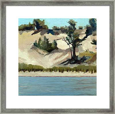 Lake Michigan Dune With Trees And Beach Grass Framed Print by Michelle Calkins