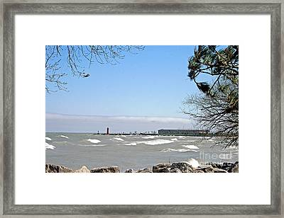 Lake Michigan View From The Rocks Framed Print by Kay Novy
