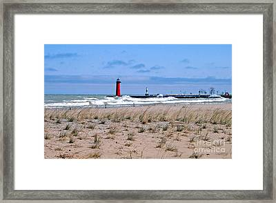 Lake Michigan With Northeast Winds Framed Print by Kay Novy
