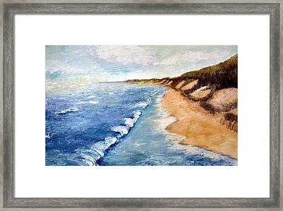 Lake Michigan With Whitecaps Ll Framed Print by Michelle Calkins