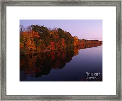 Lake Nockamixon Twilight Reflection In Autumn Framed Print by Anna Lisa Yoder