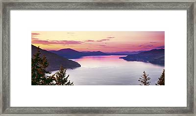 Lake Pend Oreille Panoramic Framed Print by Leland D Howard