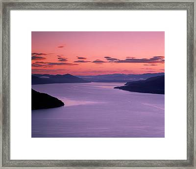 Lake Pend Oreille Sunset Framed Print by Leland D Howard