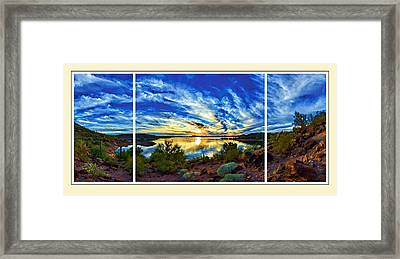 Lake Pleasant Sunset 3 Triptych Framed Print by Bill Caldwell -        ABeautifulSky Photography