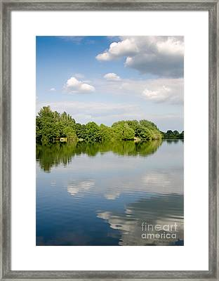 Lake Reflection Dinton Pastures Lakes And Nature Reserve Reading Berkshire Uk Framed Print by Andy Smy