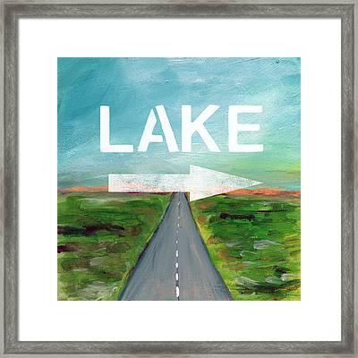 Lake Road- Art By Linda Woods Framed Print by Linda Woods